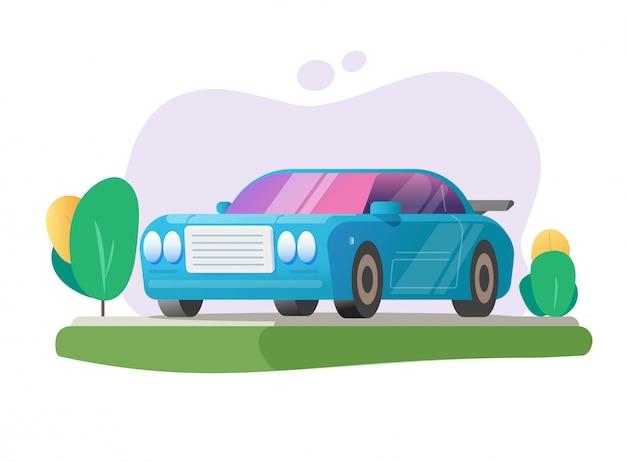 Geparkeerde auto of auto geparkeerd op gebied gazon gras plaats illustratie platte cartoon