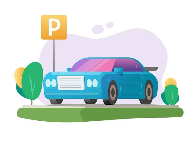 Geparkeerde auto of auto parkeerplaats en voertuig vrij park gebied gazon gras plaats met verkeersbord illustratie cartoon