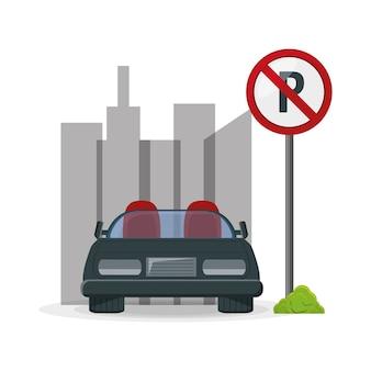 Geparkeerde auto op de verboden zone van parkeren
