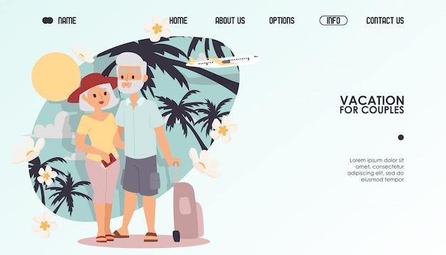 Gepensioneerd paar op vakantie, illustratie. website reisorganisatie voor koppels, pensioen vrijetijdsbesteding samen grootouders
