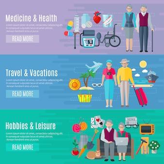 Gepensioneerden leven banners instellen met geneeskunde vakanties en vrije tijd symbolen