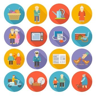 Gepensioneerden life icons flat
