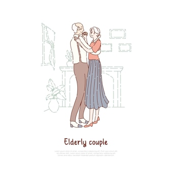 Gepensioneerden paar dansen samen concept cartoon schets