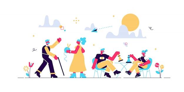 Gepensioneerden tijdverdrijf bij senioren thuis. leeftijd paar schaken. activiteiten voor senioren, een actieve levensstijl voor ouderen, een tijdbesteding voor ouderen. helder levendige violet geïsoleerde illustratie