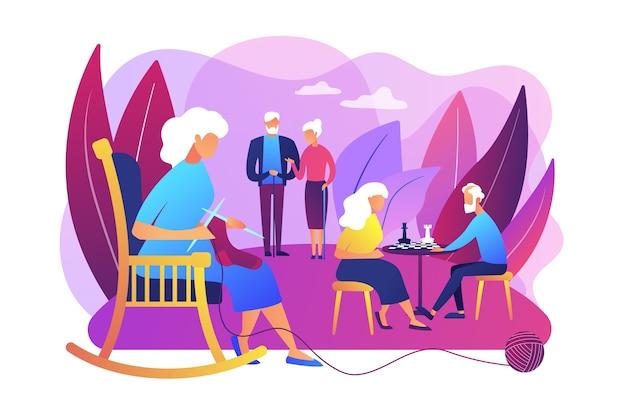 Gepensioneerden tijdverdrijf in bejaardentehuis. ouder paar schaken. activiteiten voor senioren, actieve levensstijl van ouderen, tijdbesteding van ouderen concept.
