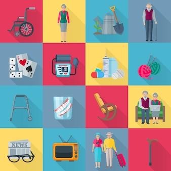 Gepensioneerden vierkante die schaduwelementen met gezondheid en hobbysymbolen vlak geïsoleerde vectorillustratie worden geplaatst