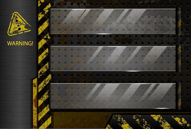 Geperforeerde industrie achtergrond met glazen bericht frames