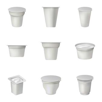 Geplaatste containerpictogrammen, isometrische stijl