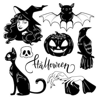 Geplaatste de leuke getrokken elementen van halloween, vectorillustratie