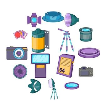 Geplaatste de pictogrammen van de fotostudio, beeldverhaalstijl
