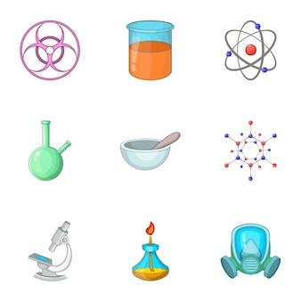 Geplaatste de pictogrammen van de laboratoriumapparatuur, beeldverhaalstijl