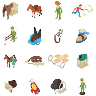 Geplaatste de pictogrammen van de paardbehandeling, isometrische stijl