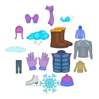 Geplaatste de pictogrammen van de winterkleren, beeldverhaalstijl
