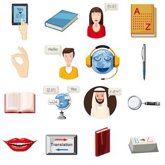 Geplaatste de pictogrammen van het beroep van de vertaler, beeldverhaalstijl