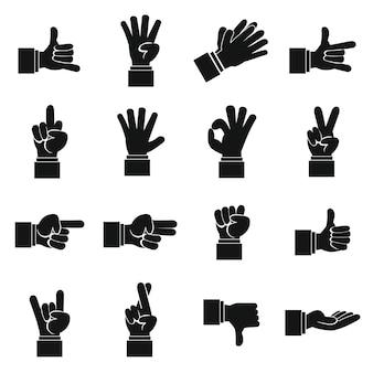 Geplaatste de pictogrammen van het handgebaar, eenvoudige ctyle