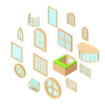 Geplaatste de pictogrammen van venstervormen, isometrische stijl