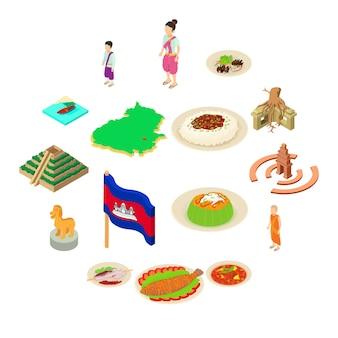 Geplaatste de reispictogrammen van kambodja, isometrische stijl