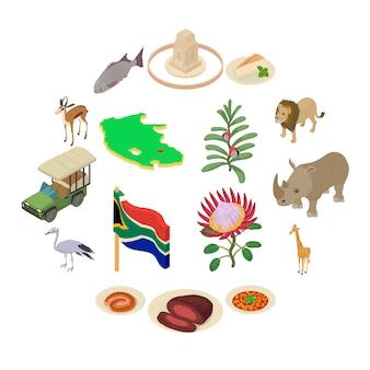 Geplaatste de reispictogrammen van zuid-afrika, isometrische stijl