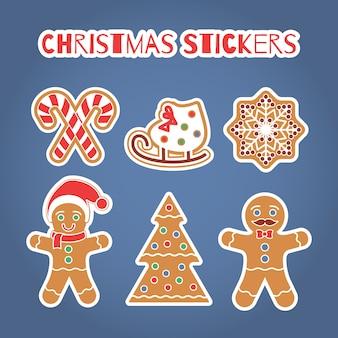 Geplaatste de stickers van de peperkoekkoekjes van kerstmis