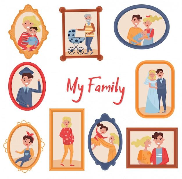 Geplaatste familieportretten, foto van familieleden in houten kaders illustraties op een witte achtergrond