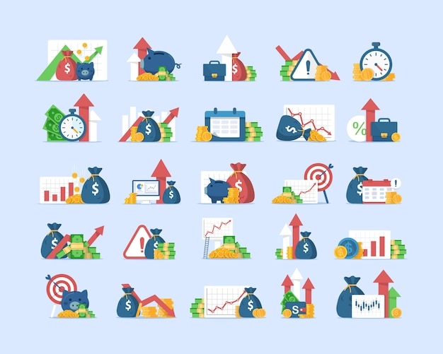 Geplaatste financiënpictogrammen, opbrengstverhoging, samengestelde rente, toegevoegde waarde, vlakke illustratie van het ontwerppictogram