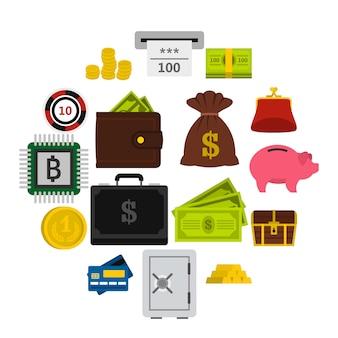 Geplaatste geldpictogrammen, vlakke stijl