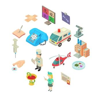 Geplaatste geneeskundepictogrammen, isometrische stijl