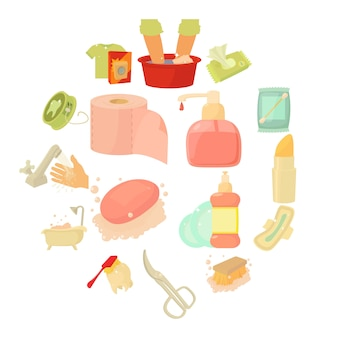 Geplaatste hygiëne schoonmakende pictogrammen, beeldverhaalstijl