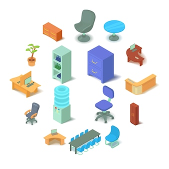 Geplaatste kantoormeubilairpictogrammen, isometrische stijl