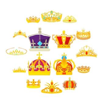 Geplaatste koninklijke koninklijke pictogrammen, beeldverhaalstijl