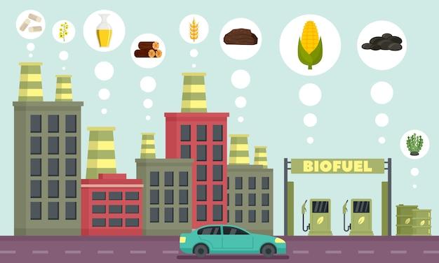 Geplaatste pictogrammen van de stads de biobrandstof, overzichtsstijl