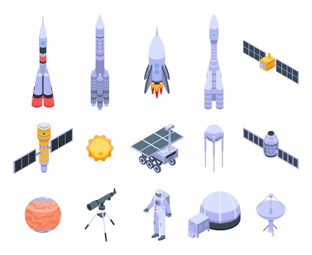 Geplaatste pictogrammen van de technologie van de ruimteonderzoek