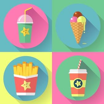 Geplaatste pictogrammen van het snel voedsel de kleurrijke vlakke ontwerp. sjabloonelementen voor web en mobiel