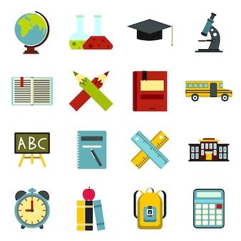 Geplaatste schoolpictogrammen, vlakke ctyle