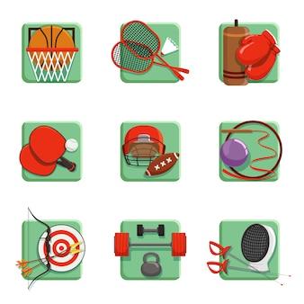 Geplaatste sportpictogrammen, boksen, badminton, gymnastiek, schermen, honkbal, boogschietenillustraties