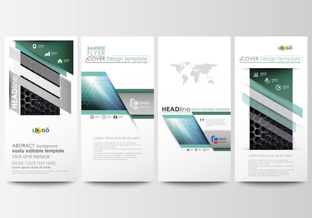 Geplaatste vliegers, moderne banners. zakelijke sjablonen. cover ontwerpsjabloon, gemakkelijk bewerkbare vector lay-outs.
