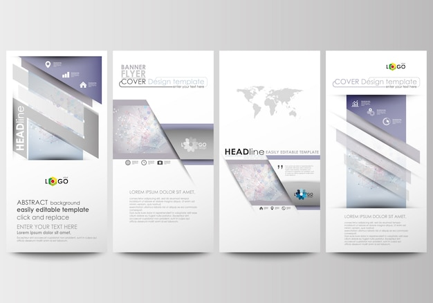 Geplaatste vliegers, moderne banners. zakelijke sjablonen. ontwerpsjabloon cover. molecuul structuur