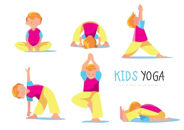 Geplaatste yogajonge geitjes, illustratie.