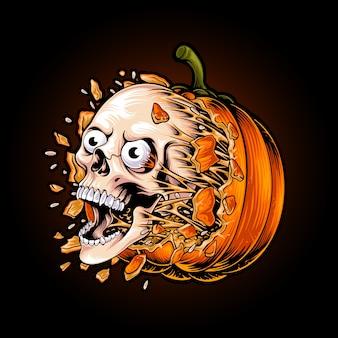 Gepompt schedelhoofd van halloween-pompoenillustratie