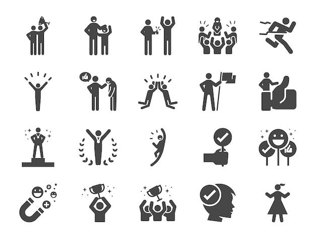 Geprezen en tevreden lijn icon set