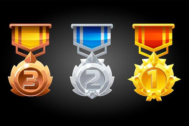 Gerangschikte medailles zijn zilver, brons en goud voor het spel.