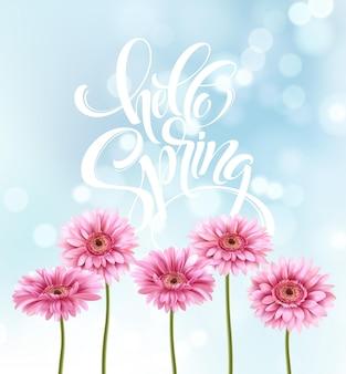 Gerbera bloem achtergrond en lente belettering. illustratie
