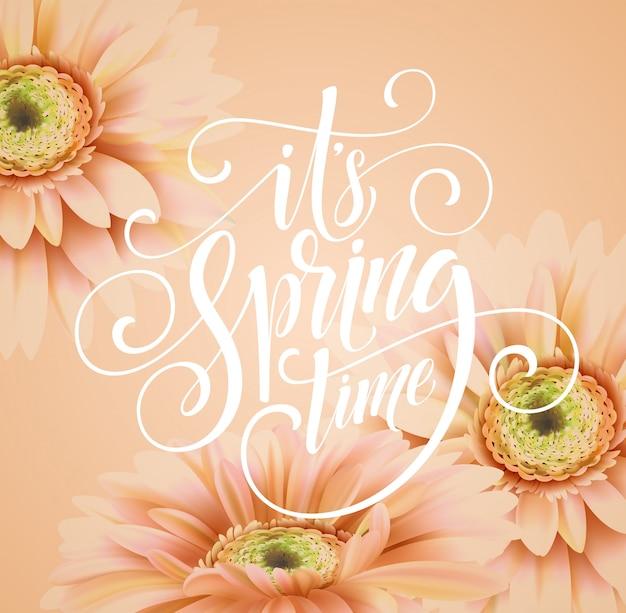 Gerbera bloem en lente belettering.