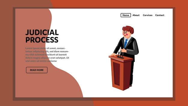 Gerechtelijke procedure advocaat houdt toespraak