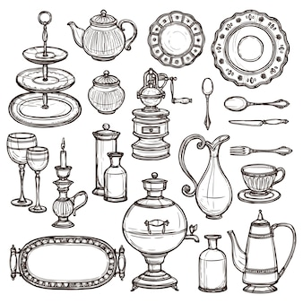 Gerechten doodle schets pictogrammenset print