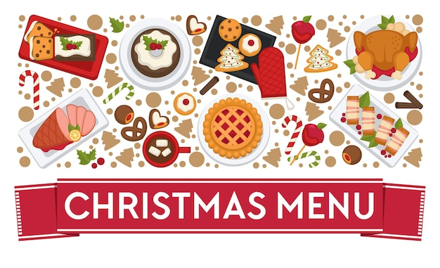 Gerechten en eten bereid in restaurants of diners voor het vieren van kerstmis Premium Vector