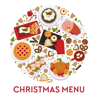 Gerechten en snacks gekookt voor kerstviering. kerstmenusjabloon in cirkel
