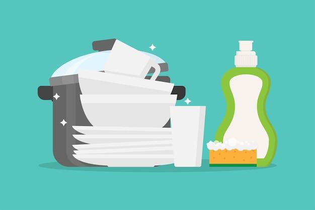 Gerechten, schone pan en afwasmiddel platte ontwerp vectorillustratie