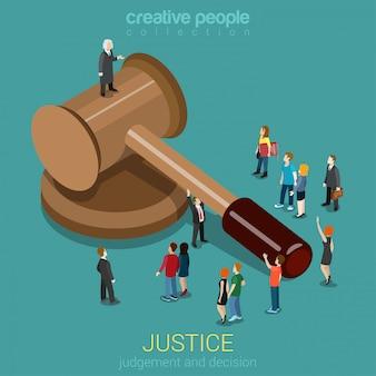 Gerechtigheid en recht oordeel en beslissing gerechtelijke zitting concept justitiële zitting little micro casual mensen en beoordelen op hamer plat isometrisch.