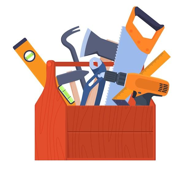 Gereedschap opbergdoos. gereedschap bij de hand. handgereedschap sleutels, bijl, zaag, koevoet, schroevendraaier. home renovatie. vector illustratie